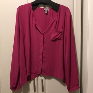 Magenta silk blouse with open back!